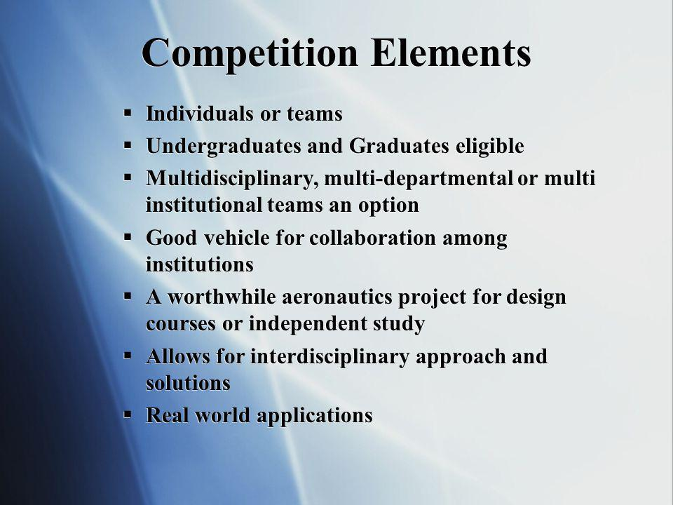 Competition Elements Individuals or teams Undergraduates and Graduates eligible Multidisciplinary, multi-departmental or multi institutional teams an option Good vehicle for collaboration among institutions A worthwhile aeronautics project for design courses or independent study Allows for interdisciplinary approach and solutions Real world applications Individuals or teams Undergraduates and Graduates eligible Multidisciplinary, multi-departmental or multi institutional teams an option Good vehicle for collaboration among institutions A worthwhile aeronautics project for design courses or independent study Allows for interdisciplinary approach and solutions Real world applications