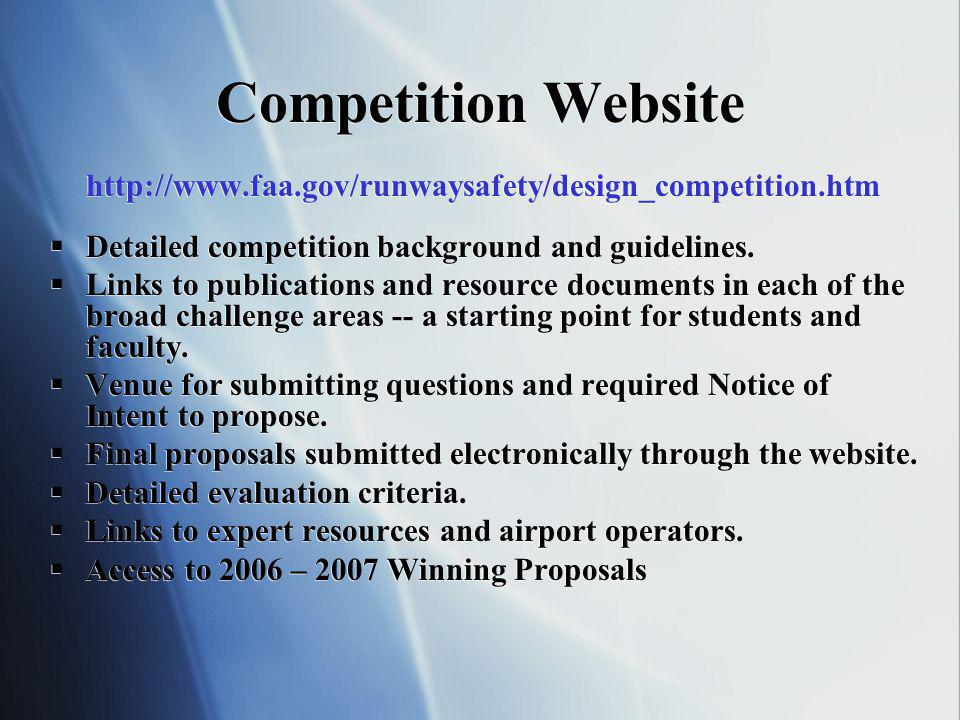 FAA University Design Competition for Airports Key Dates Competition Announcement: August 2007 Notice of Intent: a.NOI strongly suggested and anticipated prior to start of design process b.Fall semester deadline -September 28, 2007 c.Note: NOIs involving fall work will still be accepted through the Spring semester deadline is January 31, 2008 Design Submittal Deadline: 5 p.m.