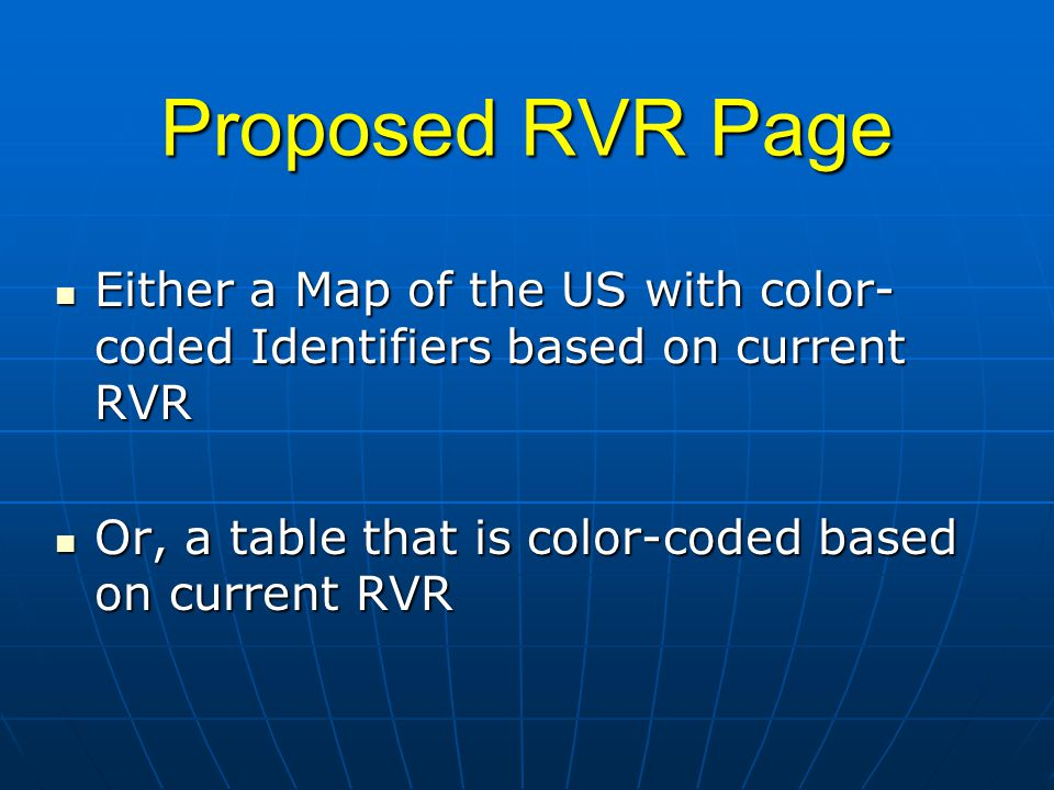 Proposed RVR Page Either a Map of the US with color- coded Identifiers based on current RVR Either a Map of the US with color- coded Identifiers based on current RVR Or, a table that is color-coded based on current RVR Or, a table that is color-coded based on current RVR