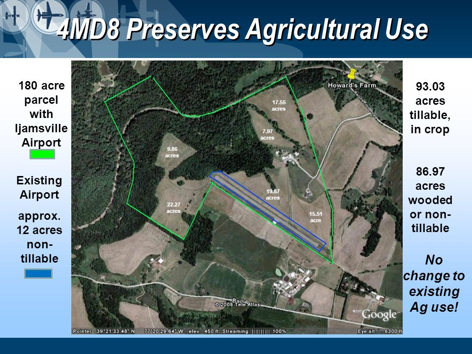 4MD8 Preserves Agricultural Use 180 acre parcel with Ijamsville Airport Existing Airport approx. 12 acres non- tillable No change to existing Ag use!