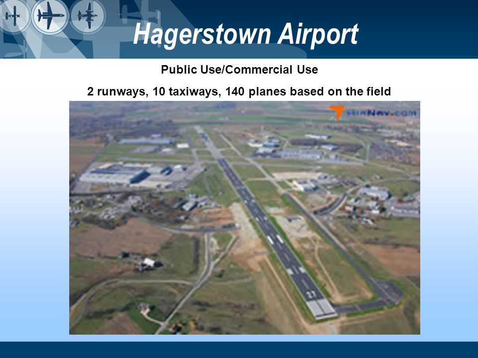 Hagerstown Airport Public Use/Commercial Use 2 runways, 10 taxiways, 140 planes based on the field