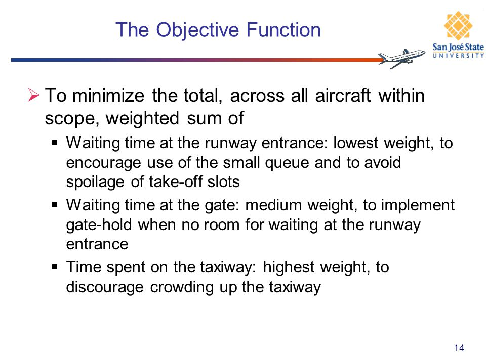 The Objective Function To minimize the total, across all aircraft within scope, weighted sum of Waiting time at the runway entrance: lowest weight, to