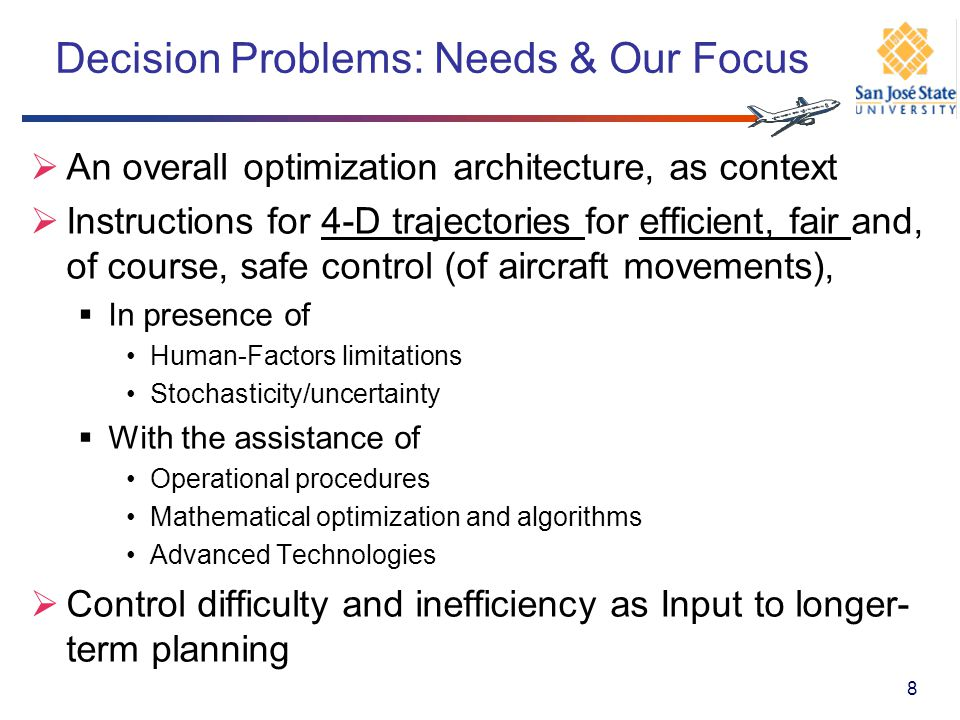 Problem Statement: Integrated Taxiway and Take-Scheduling Existing Literature: Little on optimization architecture for ASO Component problems, treated mostly as independent Taxiway scheduling by Smeltink et al.