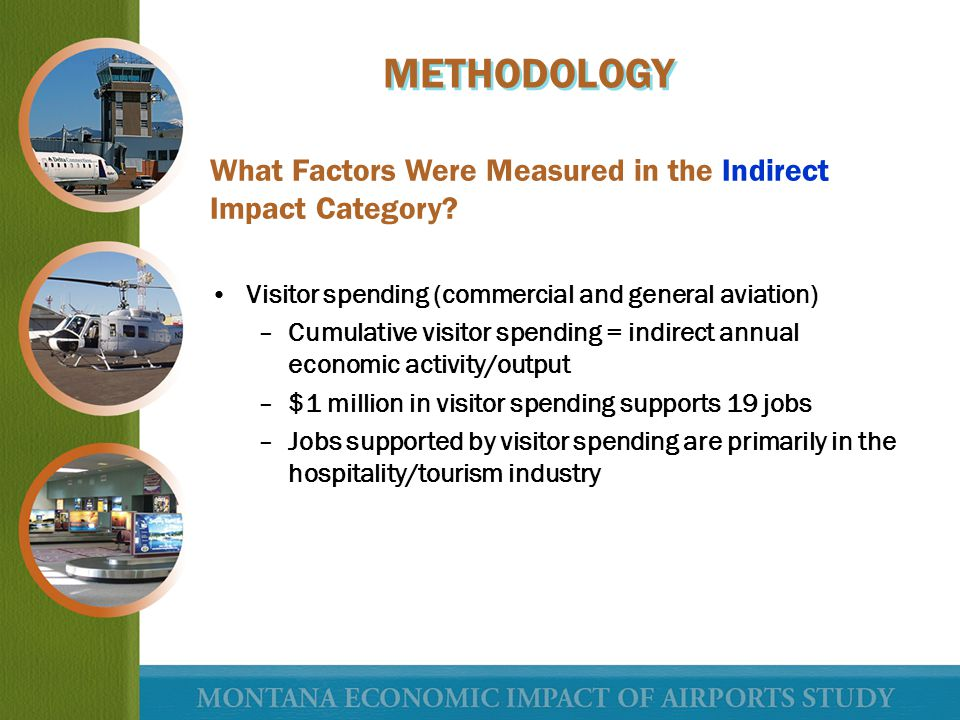 What Factors Were Measured in the Indirect Impact Category? Visitor spending (commercial and general aviation) –Cumulative visitor spending = indirect