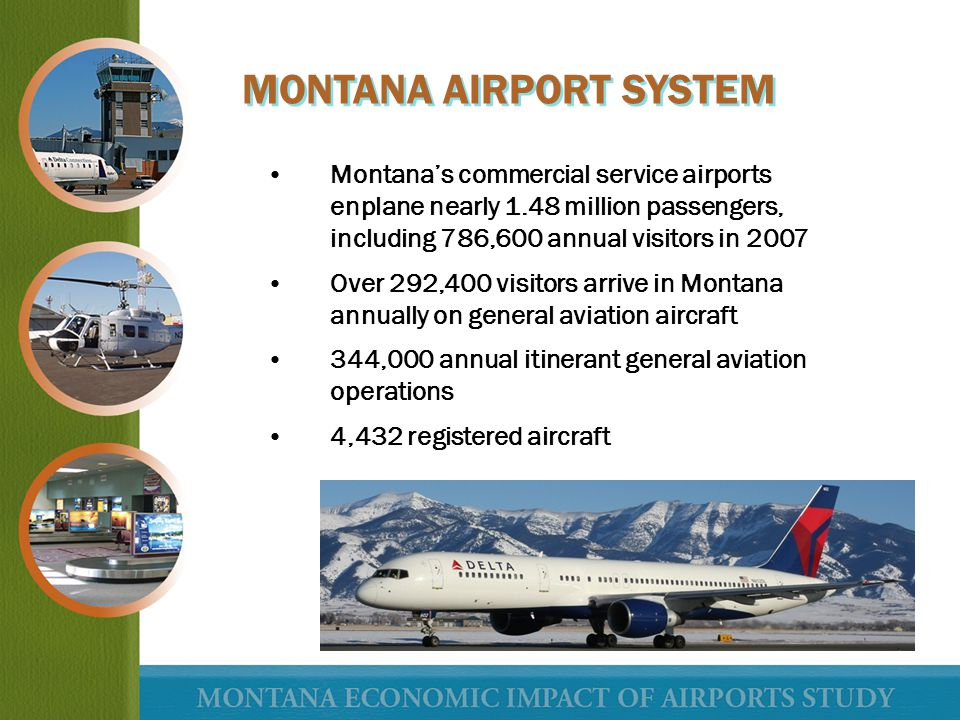 Montanas commercial service airports enplane nearly 1.48 million passengers, including 786,600 annual visitors in 2007 Over 292,400 visitors arrive in
