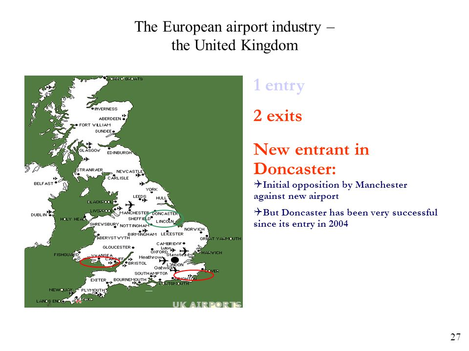 27 The European airport industry – the United Kingdom 1 entry 2 exits New entrant in Doncaster: Initial opposition by Manchester against new airport B