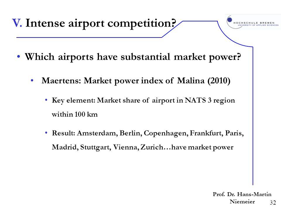 32 Prof. Dr. Hans-Martin Niemeier Which airports have substantial market power? Maertens: Market power index of Malina (2010) Key element: Market shar