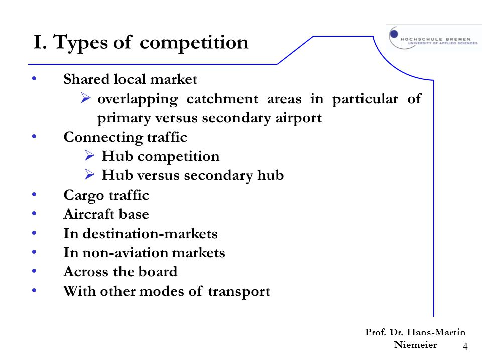 4 Shared local market overlapping catchment areas in particular of primary versus secondary airport Connecting traffic Hub competition Hub versus seco