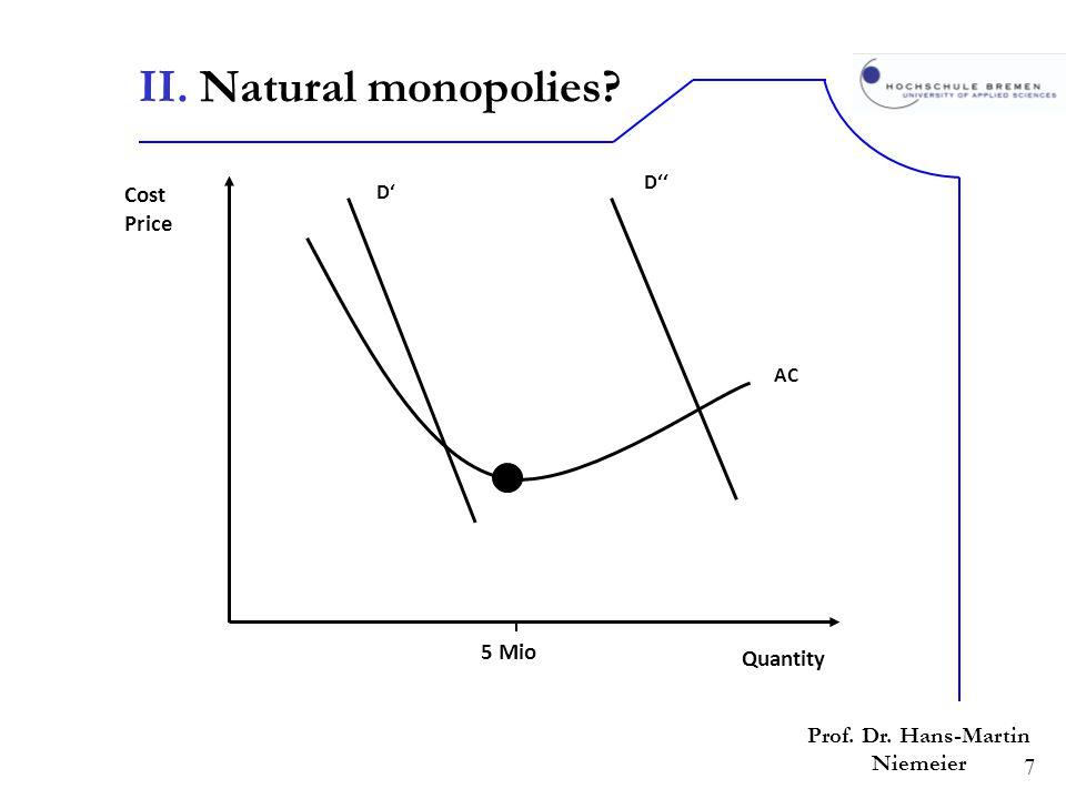 7 Prof. Dr. Hans-Martin Niemeier II. Natural monopolies? Quantity Cost Price D D 5 Mio AC