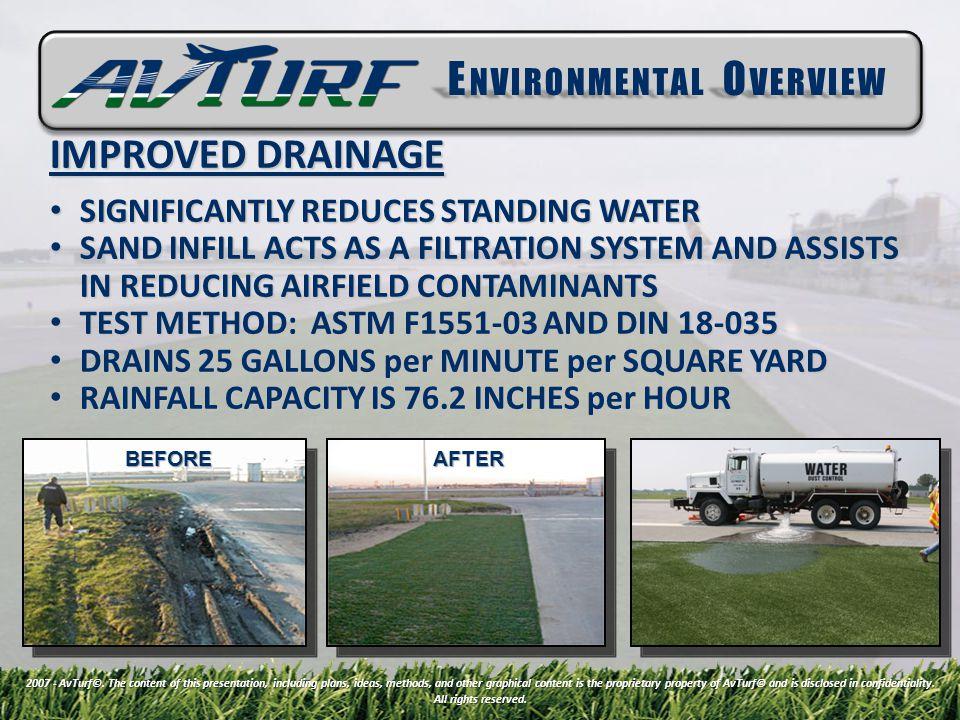 BEFOREAFTER IMPROVED DRAINAGE SIGNIFICANTLY REDUCES STANDING WATER SIGNIFICANTLY REDUCES STANDING WATER SAND INFILL ACTS AS A FILTRATION SYSTEM AND ASSISTS IN REDUCING AIRFIELD CONTAMINANTS SAND INFILL ACTS AS A FILTRATION SYSTEM AND ASSISTS IN REDUCING AIRFIELD CONTAMINANTS TEST METHOD: ASTM F1551-03 AND DIN 18-035 TEST METHOD: ASTM F1551-03 AND DIN 18-035 DRAINS 25 GALLONS per MINUTE per SQUARE YARD DRAINS 25 GALLONS per MINUTE per SQUARE YARD RAINFALL CAPACITY IS 76.2 INCHES per HOUR RAINFALL CAPACITY IS 76.2 INCHES per HOUR 2007 - AvTurf©.