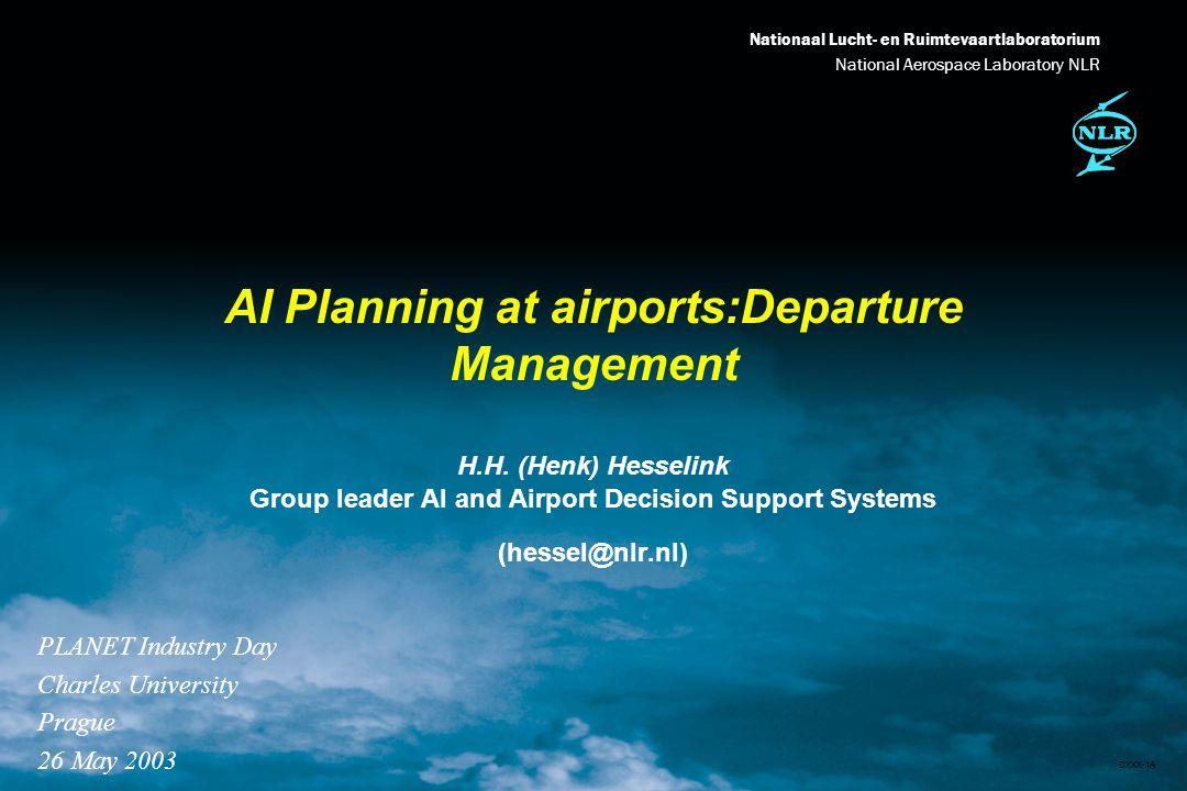Nationaal Lucht- en Ruimtevaartlaboratorium National Aerospace Laboratory NLR DXXX-2A Today l Introduction NLR l Planning at airports l Departure management - how can AI planning help.