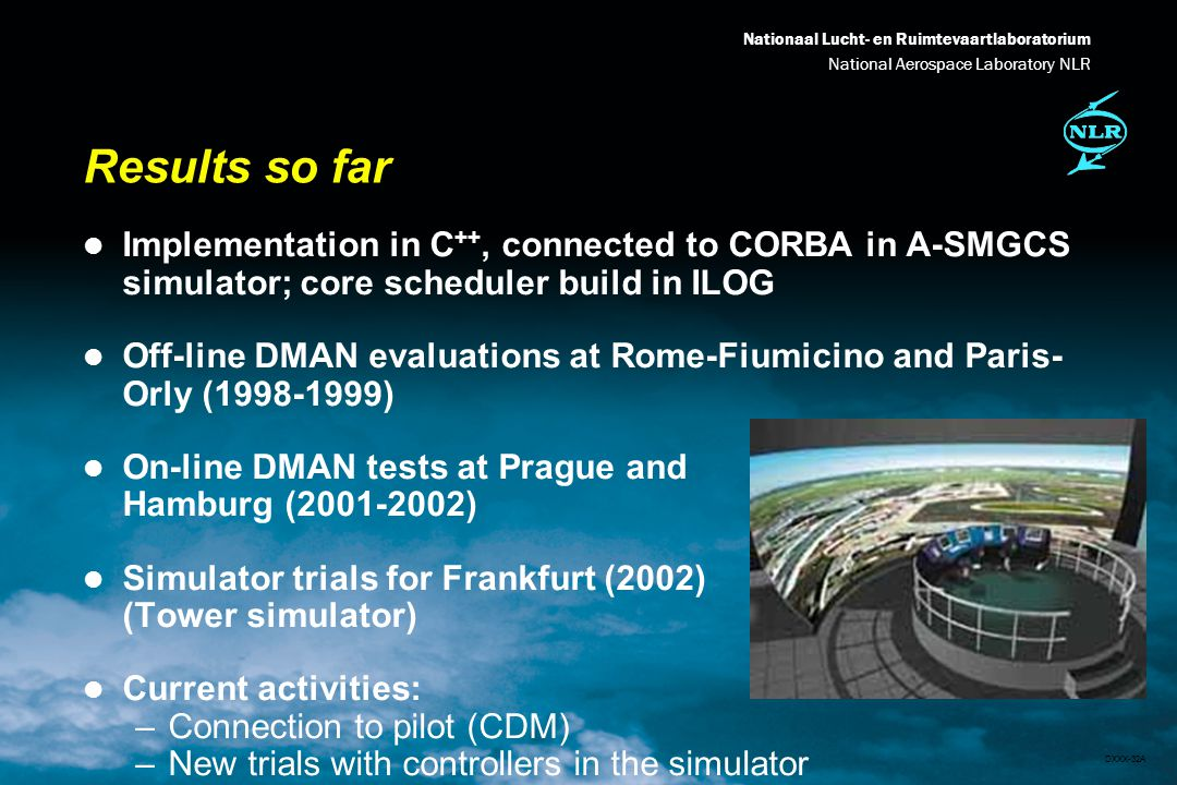 Nationaal Lucht- en Ruimtevaartlaboratorium National Aerospace Laboratory NLR DXXX-32A Results so far l Implementation in C ++, connected to CORBA in A-SMGCS simulator; core scheduler build in ILOG l Off-line DMAN evaluations at Rome-Fiumicino and Paris- Orly (1998-1999) l On-line DMAN tests at Prague and Hamburg (2001-2002) l Simulator trials for Frankfurt (2002) (Tower simulator) l Current activities: –Connection to pilot (CDM) –New trials with controllers in the simulator