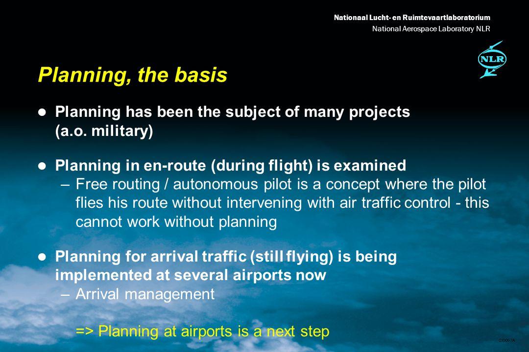 Nationaal Lucht- en Ruimtevaartlaboratorium National Aerospace Laboratory NLR DXXX-8A ATM Planning: the Problem