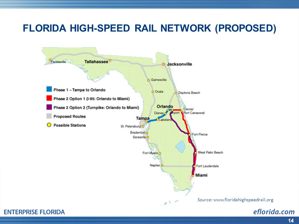 14 FLORIDA HIGH-SPEED RAIL NETWORK (PROPOSED) Source: www.floridahighspeedrail.org
