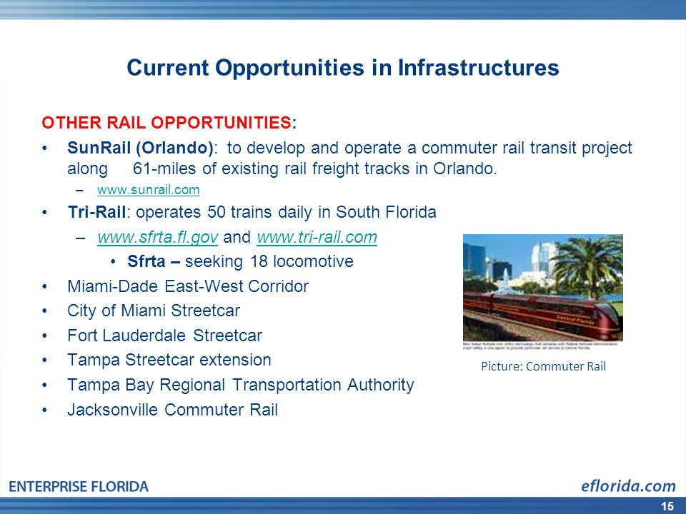 15 Current Opportunities in Infrastructures OTHER RAIL OPPORTUNITIES: SunRail (Orlando): to develop and operate a commuter rail transit project along 61-miles of existing rail freight tracks in Orlando.