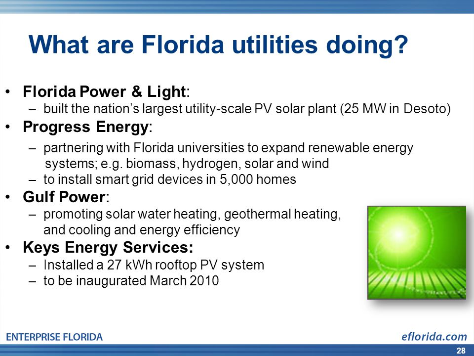 28 What are Florida utilities doing.