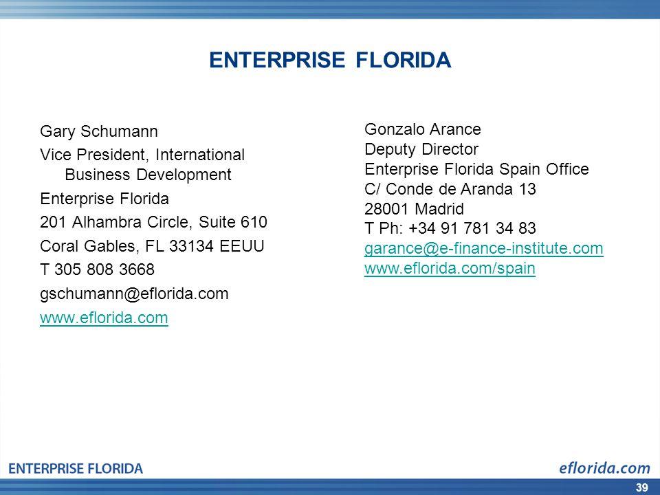 39 ENTERPRISE FLORIDA Gary Schumann Vice President, International Business Development Enterprise Florida 201 Alhambra Circle, Suite 610 Coral Gables,