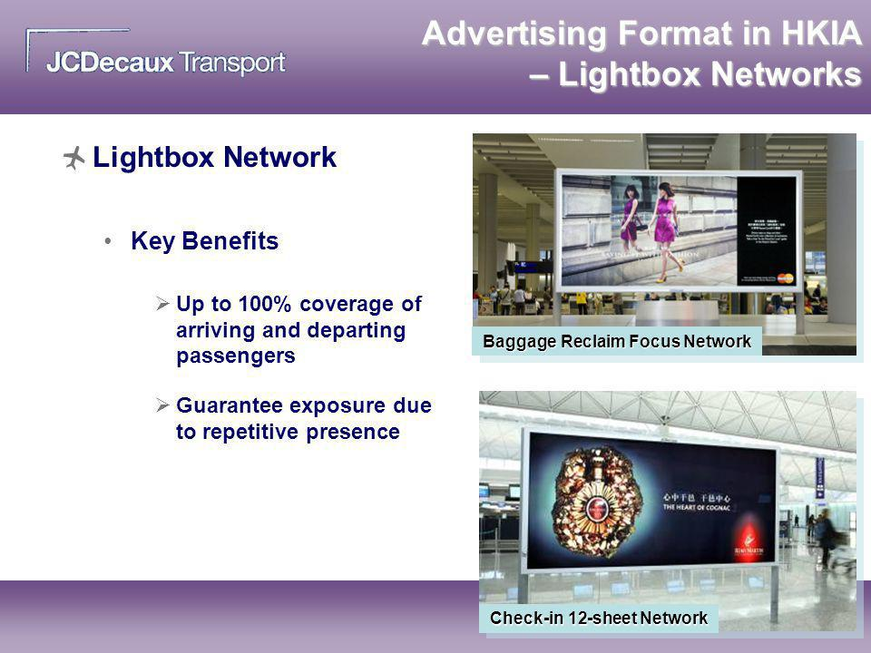 Advertising Format in HKIA – Lightbox Networks Lightbox Network Key Benefits Baggage Reclaim Focus Network Check-in 12-sheet Network Up to 100% covera