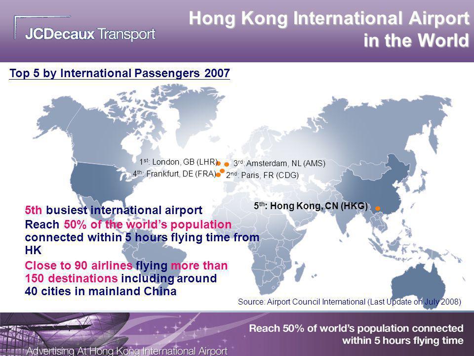 Hong Kong International Airport in the World 1 st : London, GB (LHR) 4 th : Frankfurt, DE (FRA) 2 nd : Paris, FR (CDG) 5 th : Hong Kong, CN (HKG) 3 rd