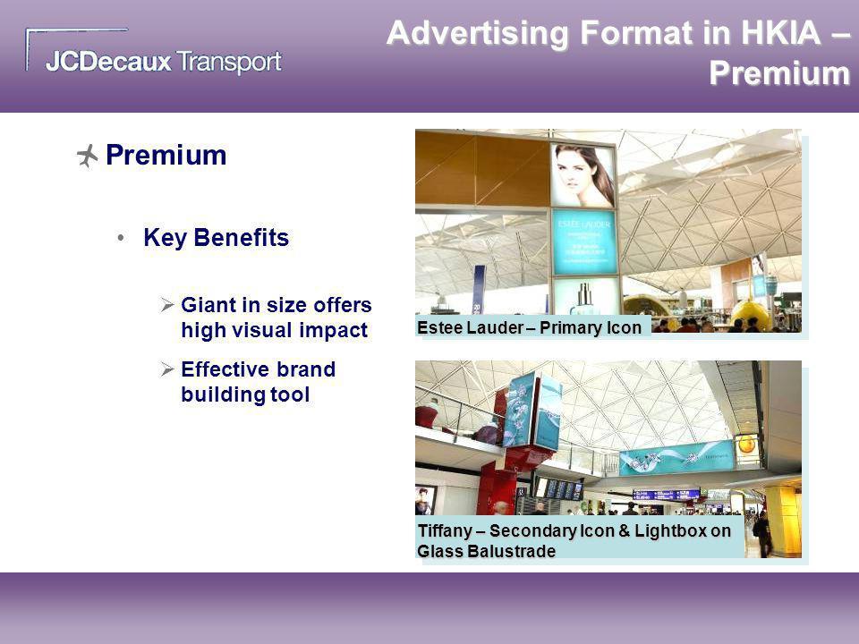 Premium Key Benefits Estee Lauder – Primary Icon Tiffany – Secondary Icon & Lightbox on Glass Balustrade Advertising Format in HKIA – Premium Giant in