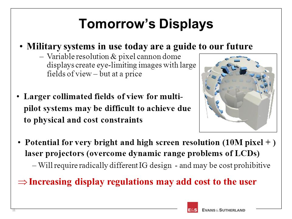 11 Tomorrows Displays Military systems in use today are a guide to our future Potential for very bright and high screen resolution (10M pixel + ) lase