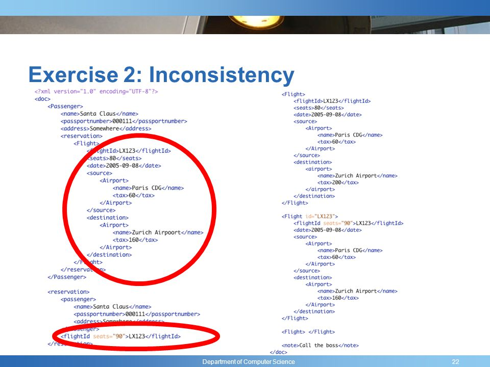Department of Computer Science Exercise 2: Inconsistency 22