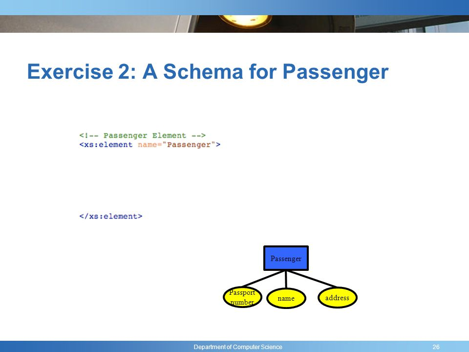 Department of Computer Science Exercise 2: A Schema for Passenger 26 Passport number name address Passenger