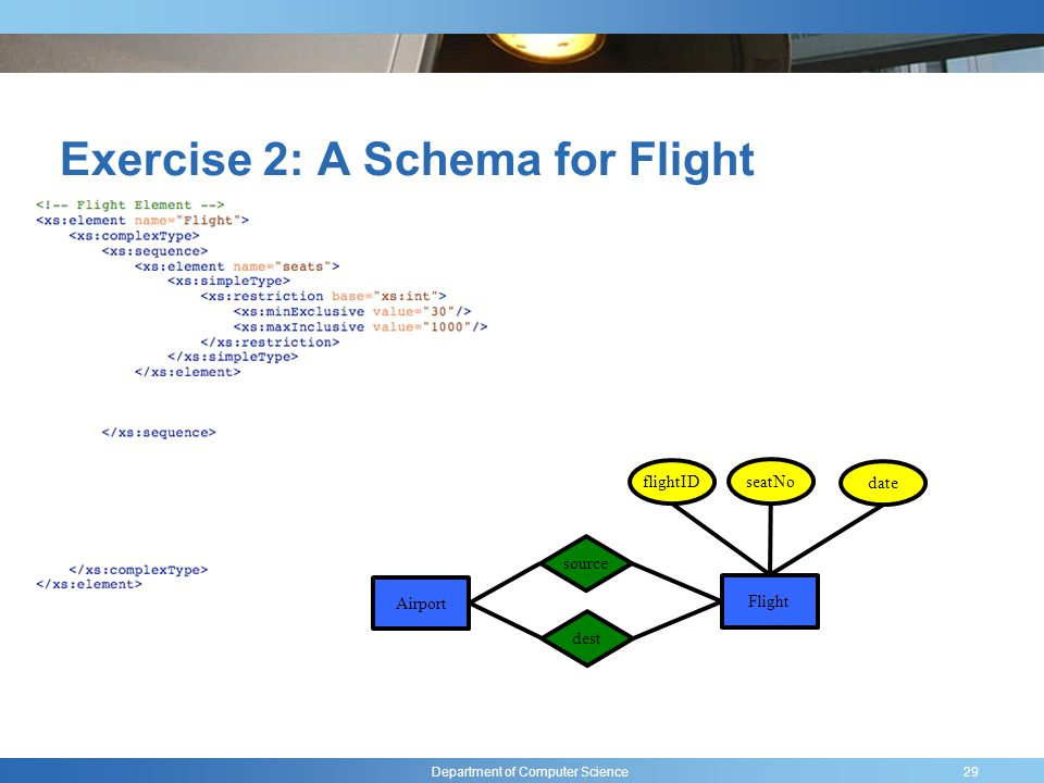 Department of Computer Science Exercise 2: A Schema for Flight 29 flightID seatNo date Airport Flight source dest