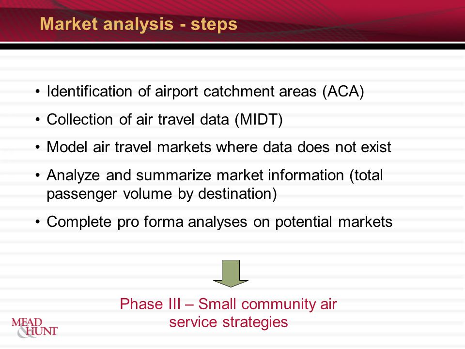 Market analysis - steps Identification of airport catchment areas (ACA) Collection of air travel data (MIDT) Model air travel markets where data does not exist Analyze and summarize market information (total passenger volume by destination) Complete pro forma analyses on potential markets Phase III – Small community air service strategies