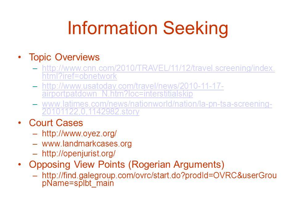 Information Seeking Topic Overviews –http://www.cnn.com/2010/TRAVEL/11/12/travel.screening/index.