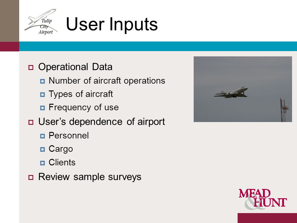 User Inputs Operational Data Number of aircraft operations Types of aircraft Frequency of use Users dependence of airport Personnel Cargo Clients Review sample surveys