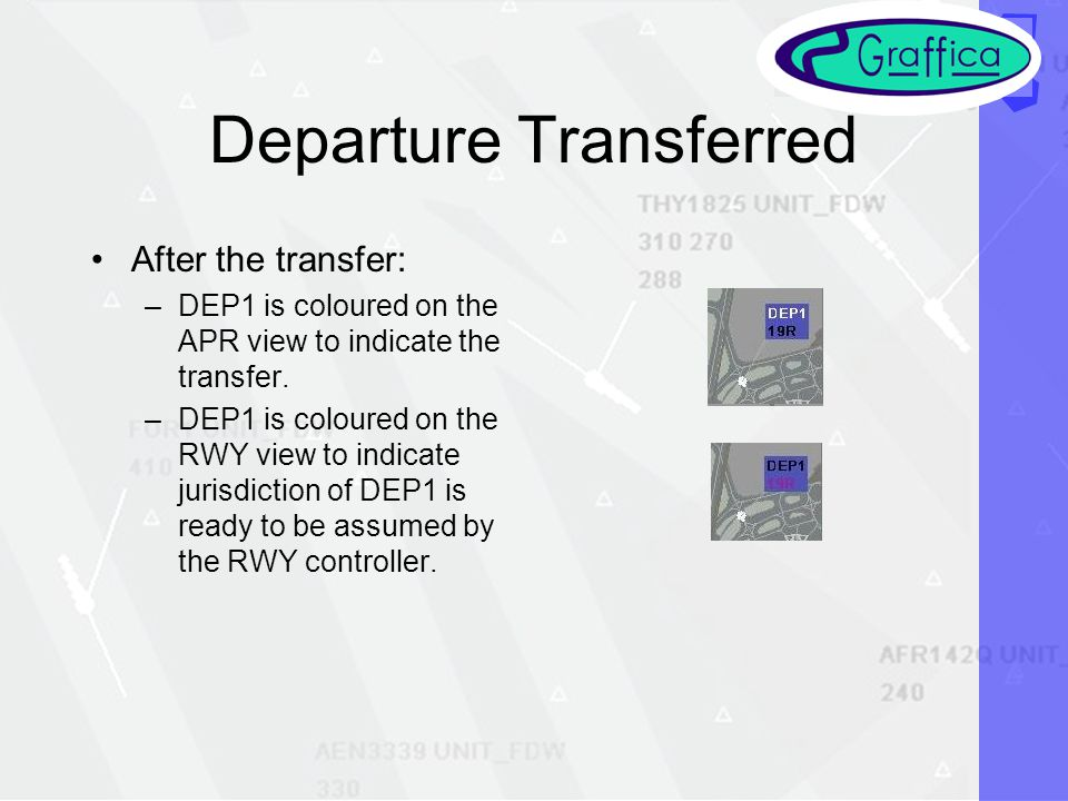 Departure Transferred After the transfer: –DEP1 is coloured on the APR view to indicate the transfer.