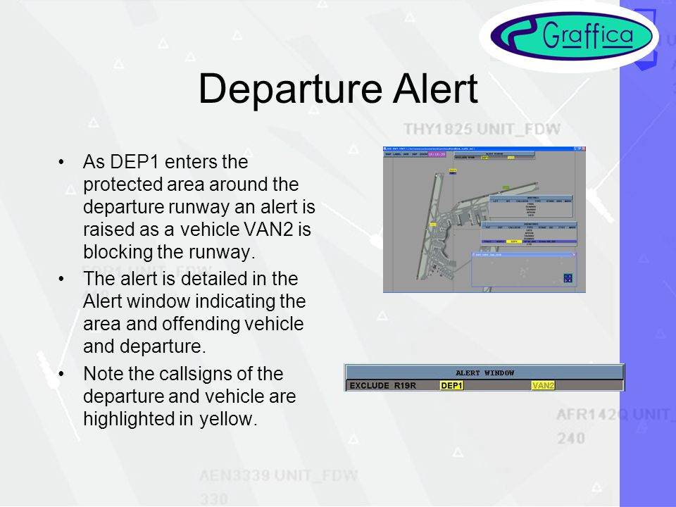 Departure Alert As DEP1 enters the protected area around the departure runway an alert is raised as a vehicle VAN2 is blocking the runway.