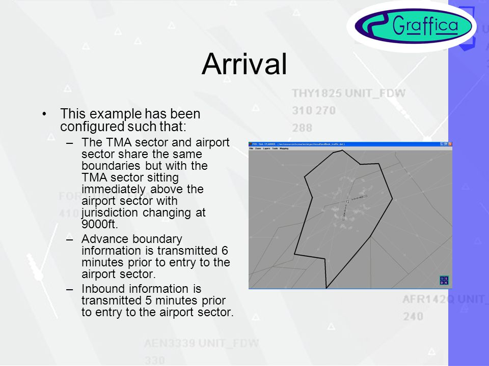 Arrival This example has been configured such that: –The TMA sector and airport sector share the same boundaries but with the TMA sector sitting immediately above the airport sector with jurisdiction changing at 9000ft.