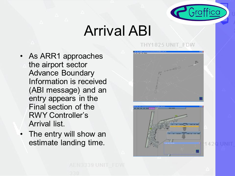Arrival ABI As ARR1 approaches the airport sector Advance Boundary Information is received (ABI message) and an entry appears in the Final section of the RWY Controllers Arrival list.