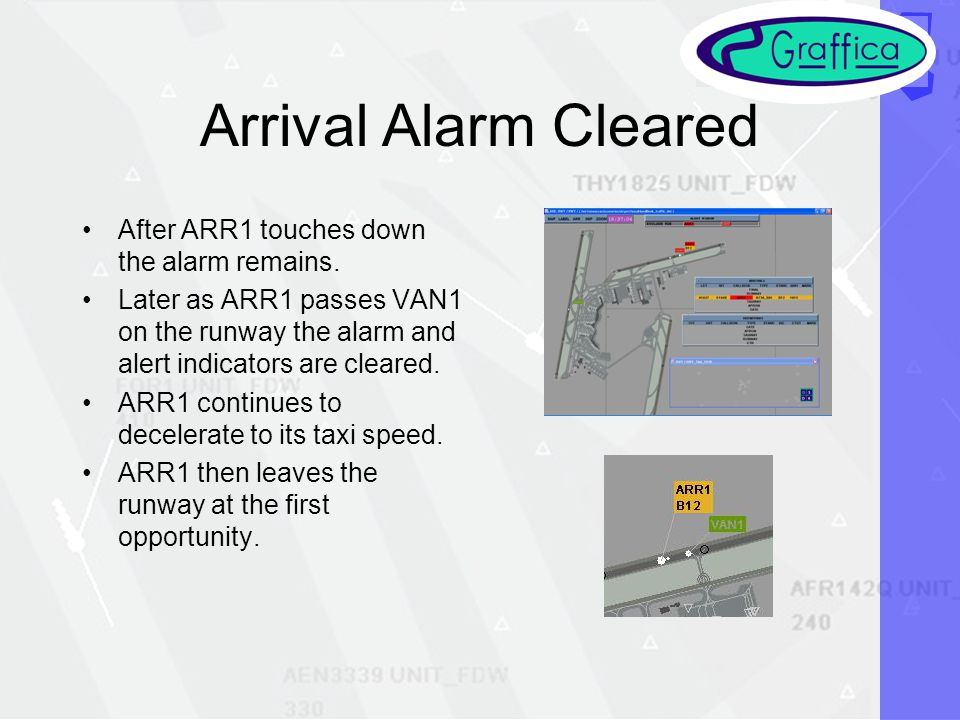 Arrival Alarm Cleared After ARR1 touches down the alarm remains.