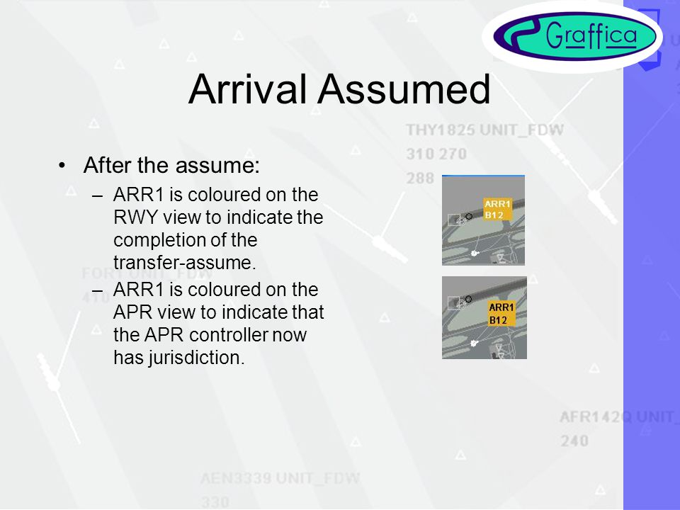 Arrival Assumed After the assume: –ARR1 is coloured on the RWY view to indicate the completion of the transfer-assume.