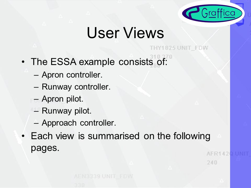 User Views The ESSA example consists of: –Apron controller.