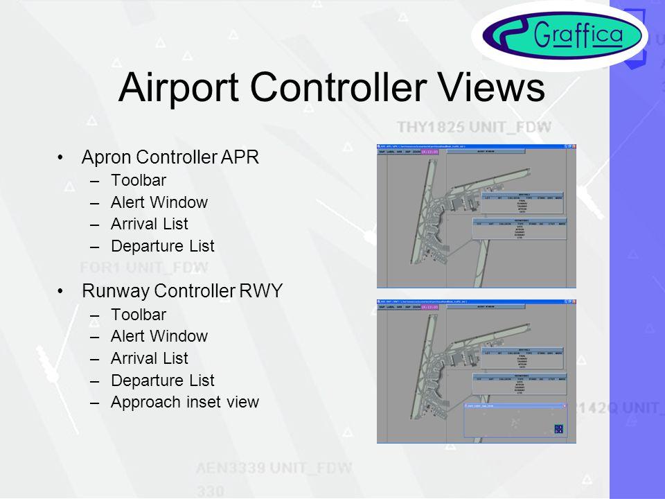 Airport Controller Views Apron Controller APR –Toolbar –Alert Window –Arrival List –Departure List Runway Controller RWY –Toolbar –Alert Window –Arrival List –Departure List –Approach inset view