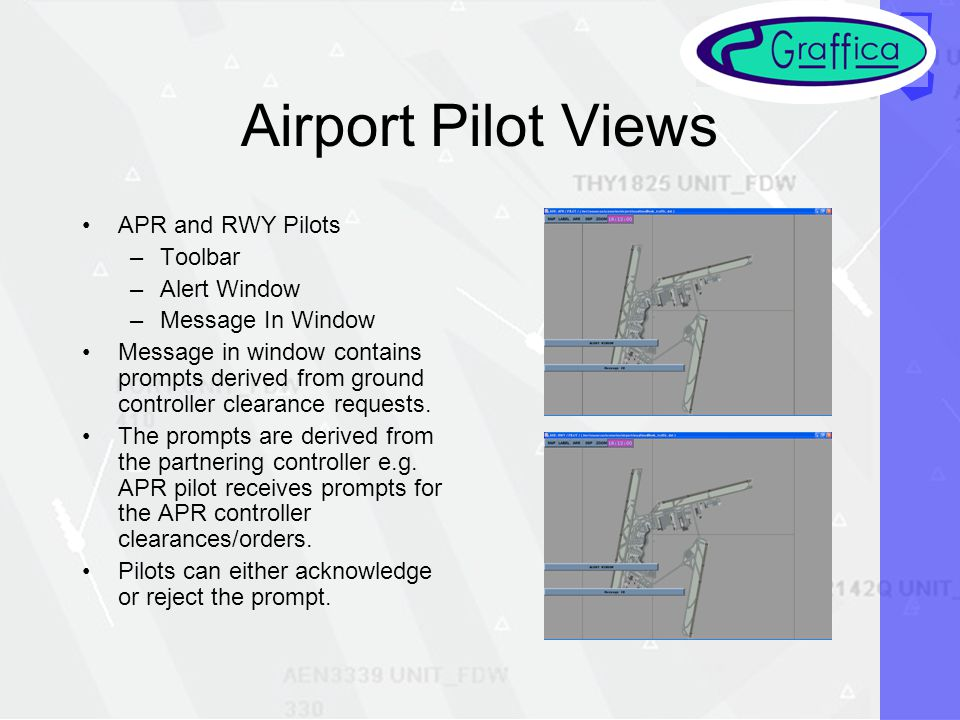 Airport Pilot Views APR and RWY Pilots –Toolbar –Alert Window –Message In Window Message in window contains prompts derived from ground controller clearance requests.