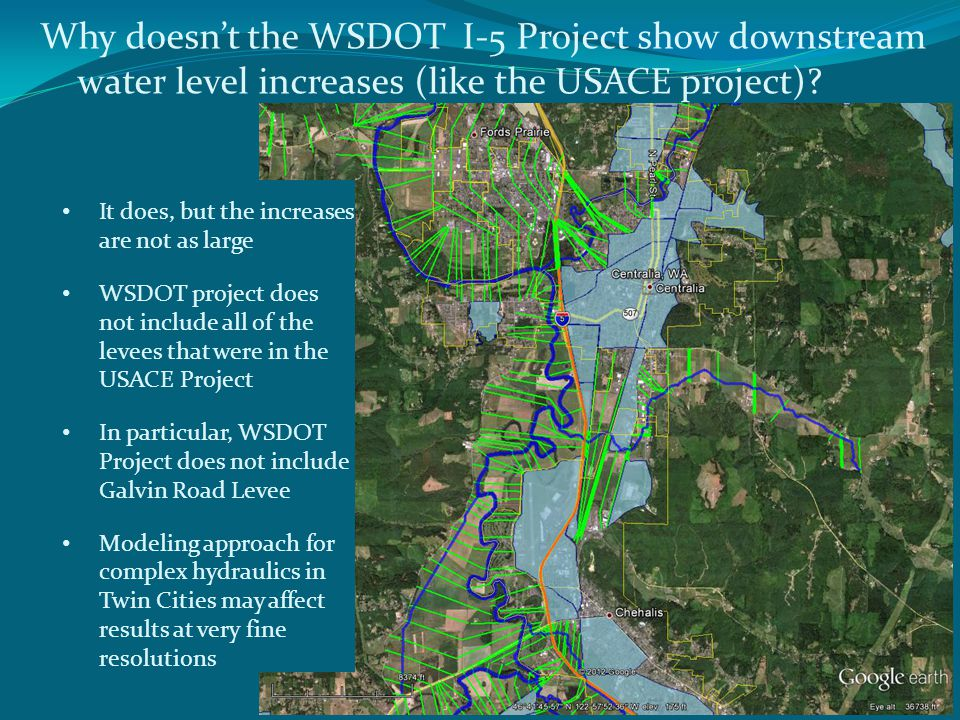 Why doesnt the WSDOT I-5 Project show downstream water level increases (like the USACE project).