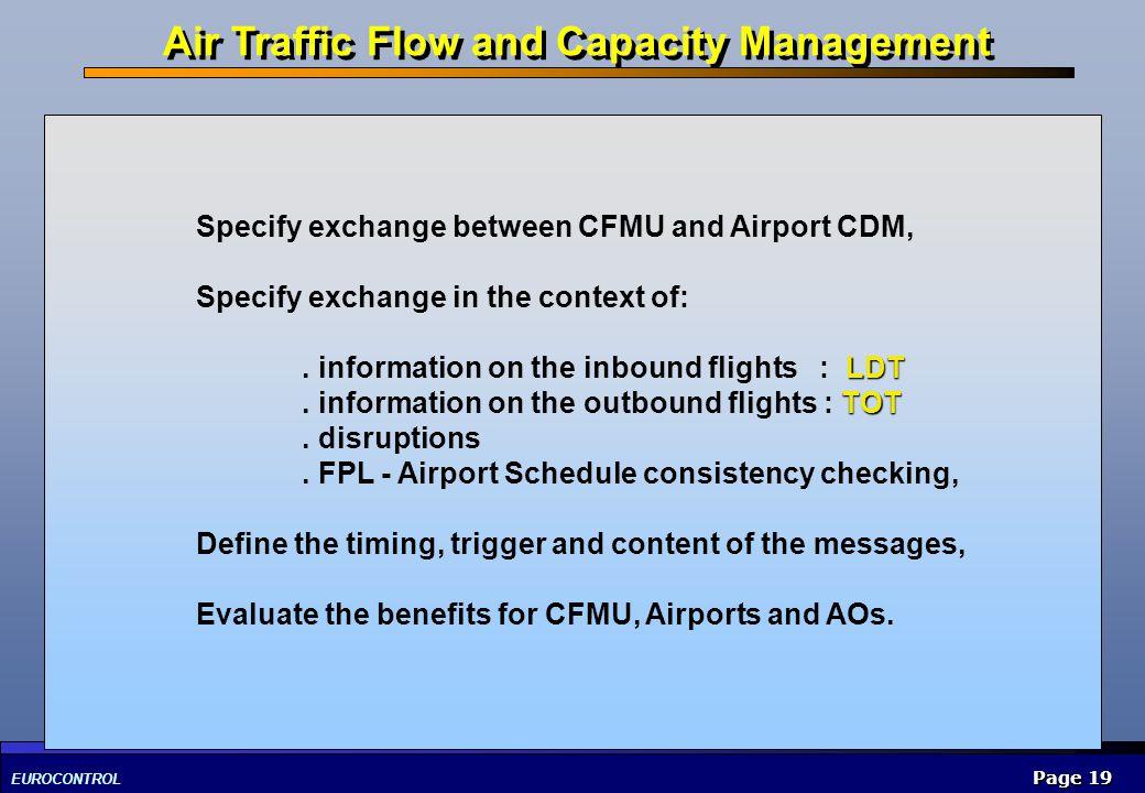 EUROCONTROL Page 19 Specify exchange between CFMU and Airport CDM, Specify exchange in the context of: LDT. information on the inbound flights : LDT T