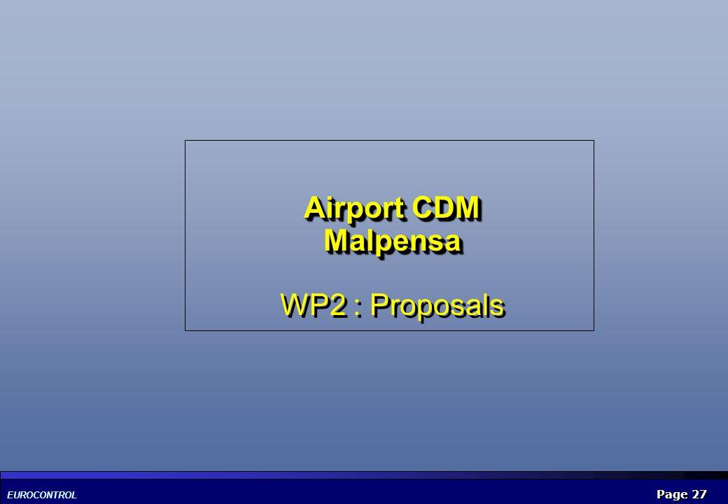 EUROCONTROL Page 27 Airport CDM Malpensa Airport CDM Malpensa WP2 : Proposals