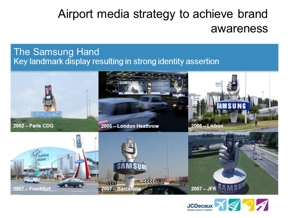 2002 – Paris CDG2006 – Lisbon 2007 – Frankfurt2007 – Barcelona2007 – JFK 2005 – London Heathrow Airport media strategy to achieve brand awareness The