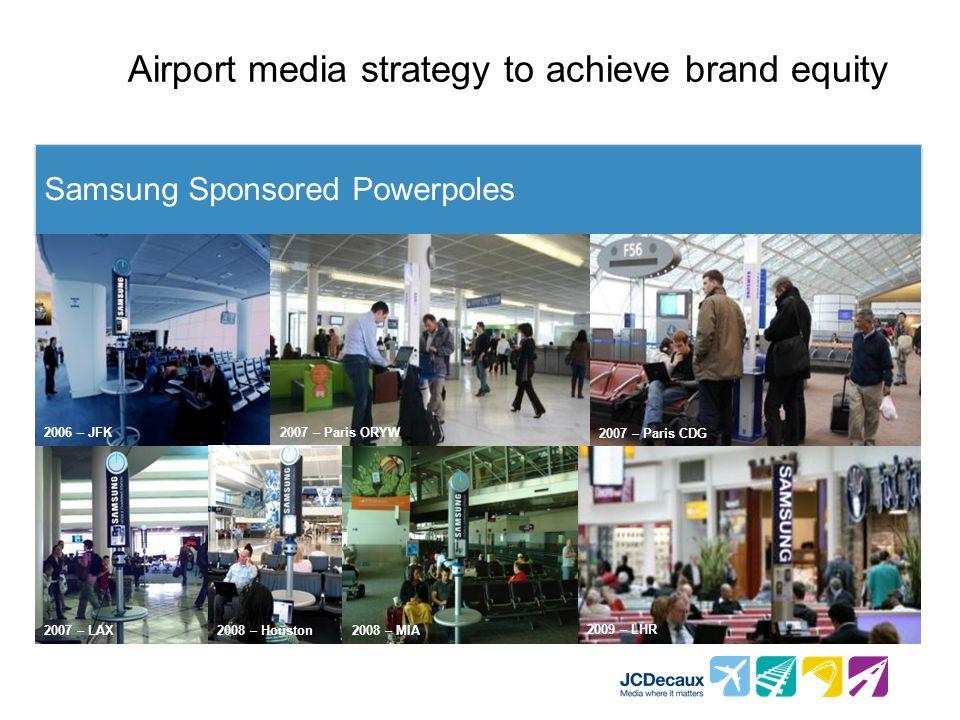 Airport media strategy to achieve brand equity Samsung Sponsored Powerpoles 2006 – JFK2007 – Paris ORYW 2007 – Paris CDG 2007 – LAX 2009 – LHR 2008 – Houston2008 – MIA