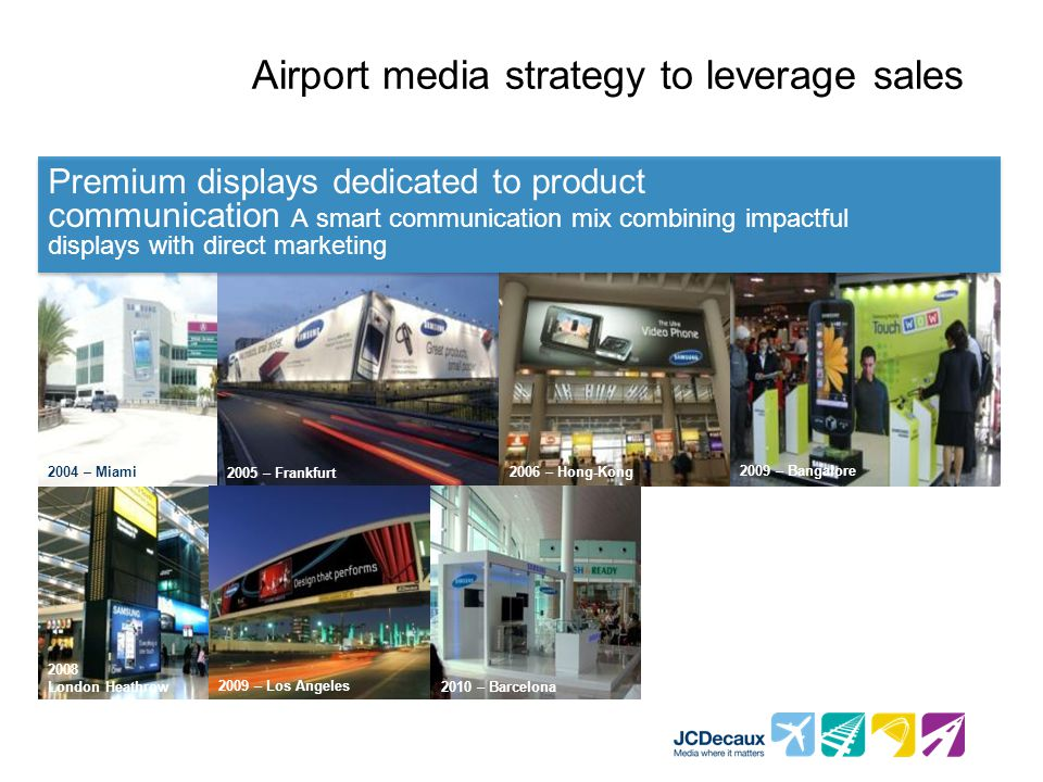Airport media strategy to leverage sales Premium displays dedicated to product communication A smart communication mix combining impactful displays wi
