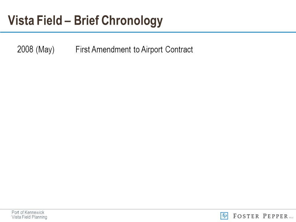 Vista Field – Brief Chronology 2008 (May)First Amendment to Airport Contract