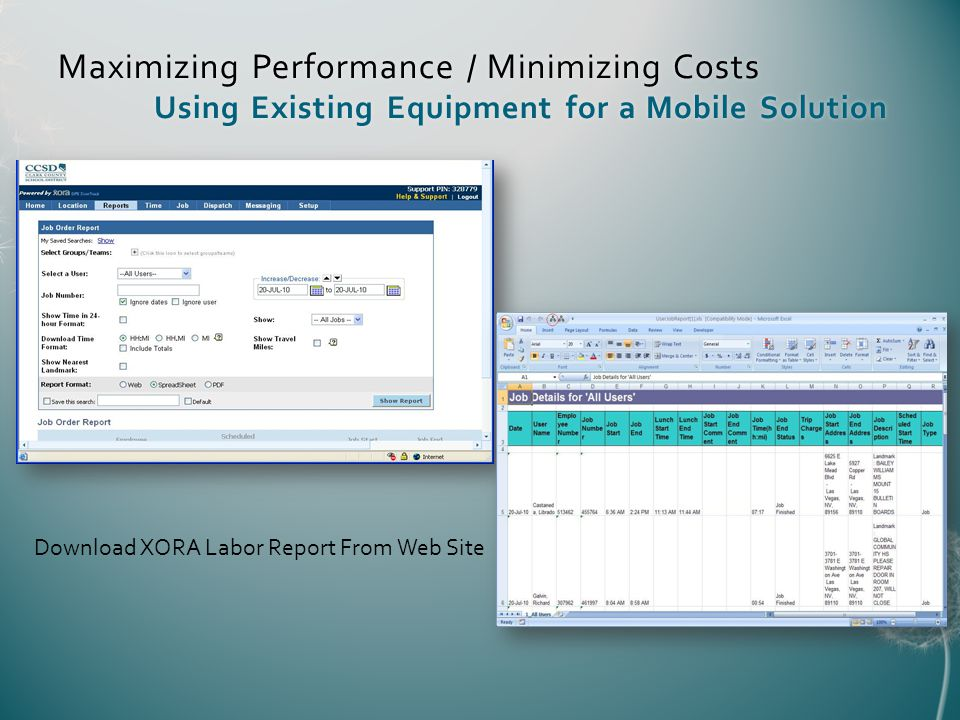 Maximizing Performance / Minimizing Costs Using Existing Equipment for a Mobile Solution Download XORA Labor Report From Web Site