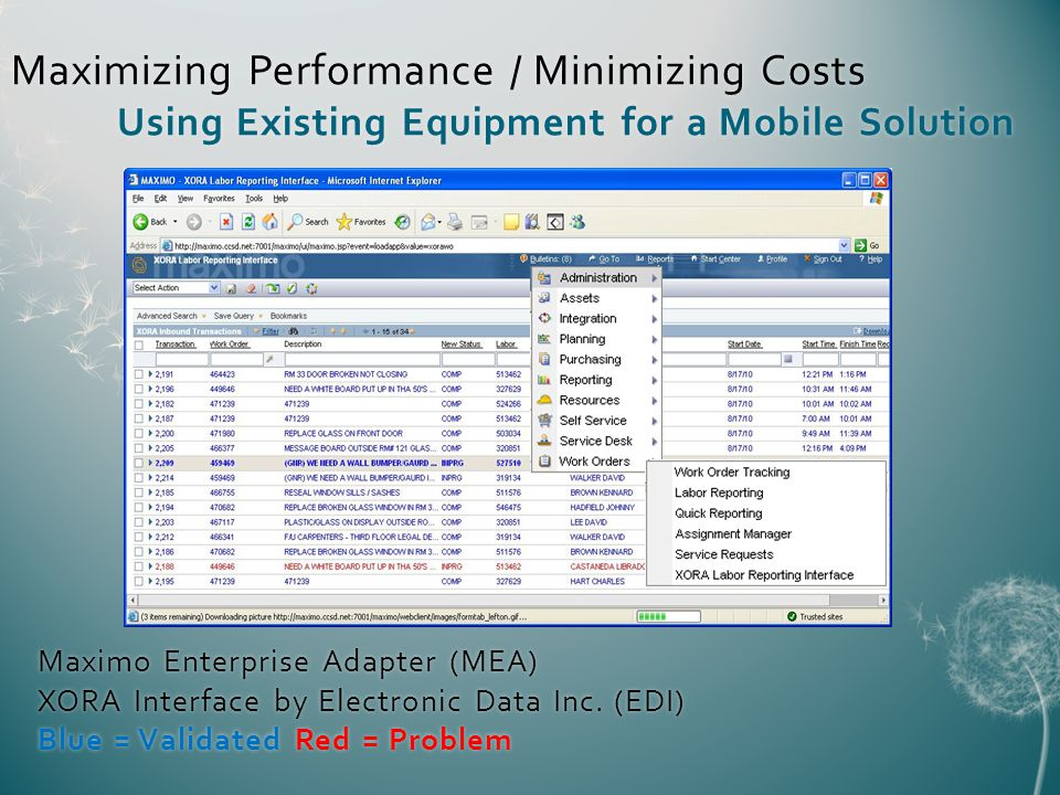 Maximo Enterprise Adapter (MEA) XORA Interface by Electronic Data Inc.