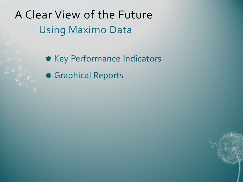 A Clear View of the Future Using Maximo Data Key Performance Indicators Graphical Reports
